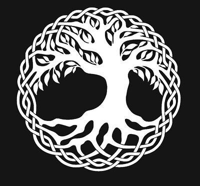 Celtic Tree of Life White Vinyl Window Sticker Decal Car Wall Irish Cute (Celtic Window Sticker)