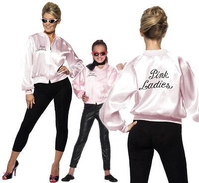 Grease Pink (Grease Pink Ladies Jacket Fancy Dress Costume Official Licenced Outfit New)