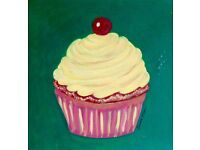 Cupcake painting on canvas