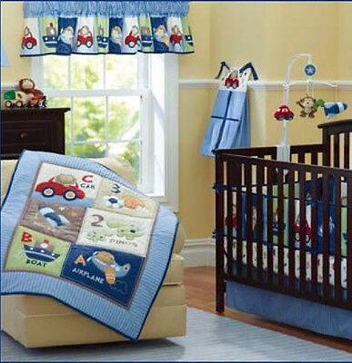 8 Piece Boy Baby Bedding Set Toys Cartoon Nursery Quilt Bumper Sheet Crib Skirt  for sale  Shipping to Canada