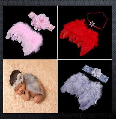 Süße Baby Set Engel Haarband Flügel Feder Kostüm Fotoshooting 3 Färben Rote - Süße Engel Kostüm Mädchen
