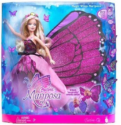 Mattel 2007 Barbie Mariposa Magic Wings Mariposa Doll Butterfly Fairy -