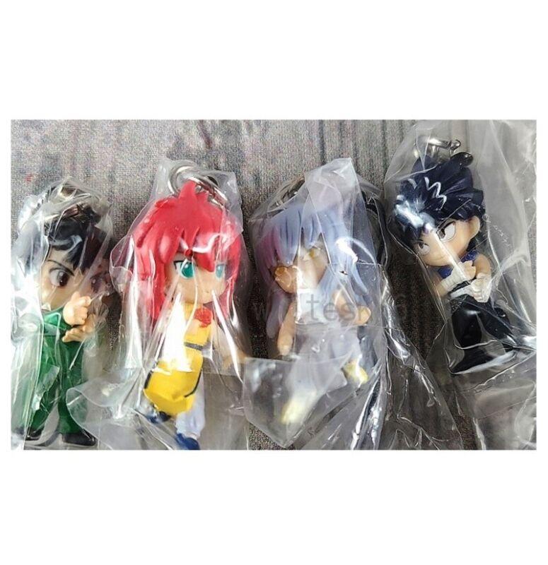Yu Yu Hakusho Mascot Figure Strap Set Yusuke Yoko Kurama Hiei OFFICIAL /442A