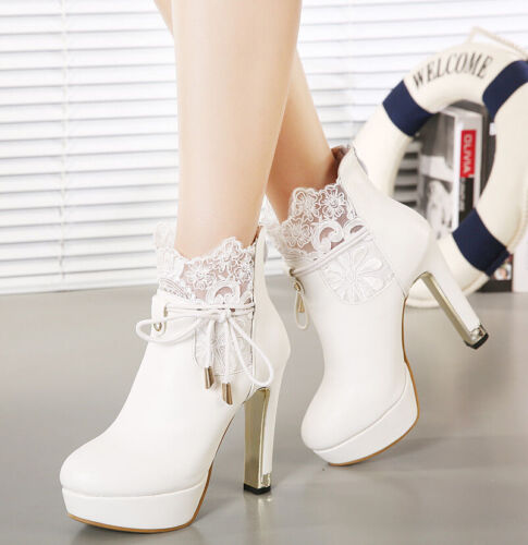 new womens lace up high heel ankle boots platform sexy. Black Bedroom Furniture Sets. Home Design Ideas