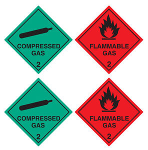 2 Flammable Gas & 2 Compressed Gas Warning Stickers - 100x100mm **FREE POSTAGE**