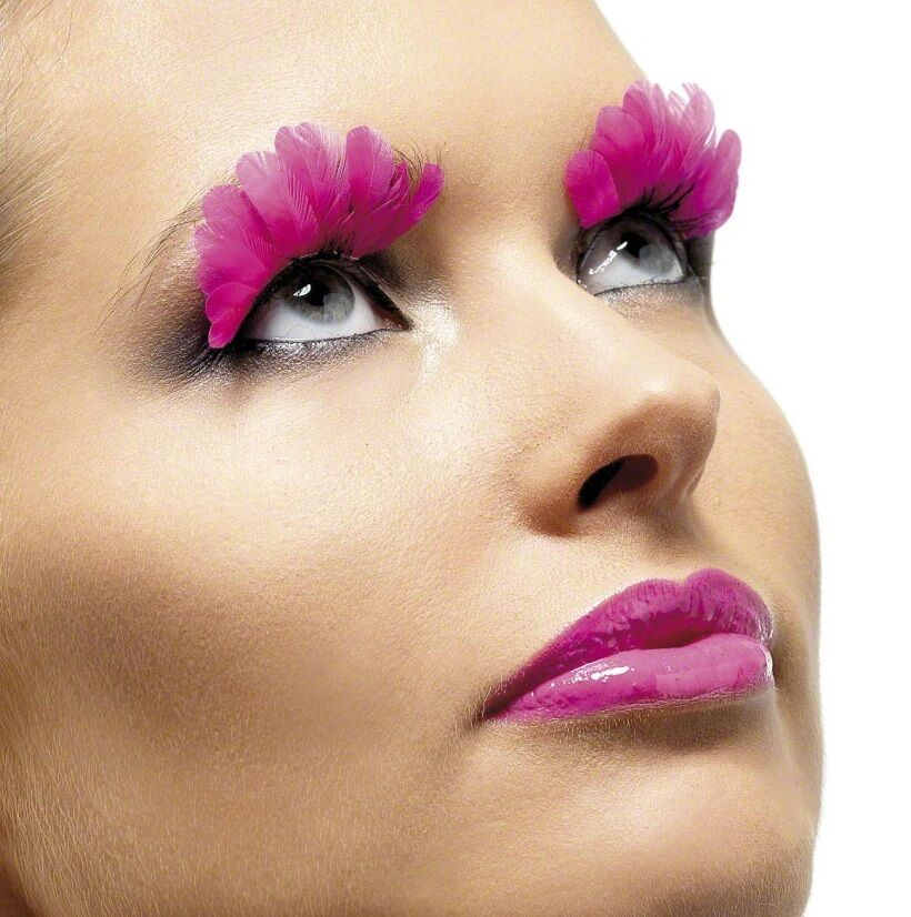 Ladies Long Neon Pink Feather Party Eyelashes Burlesque Drag Queen