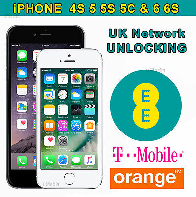 iPhone All Model (Up to 6S) Factory Unlocking Service For UK EE Orange Tmobile