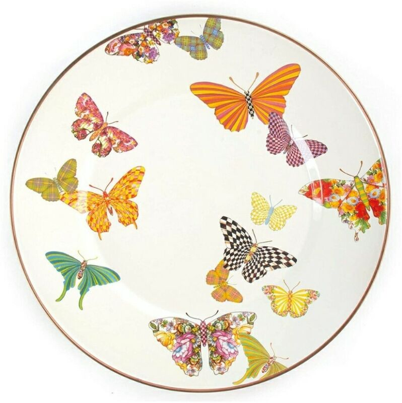MacKenzie-Childs Butterfly Garden Enamel Diner Plate New SET OF 4