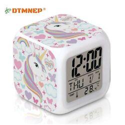 Unicorn Alarm Clock for Kids Girls Room, LED Digital Bedroom Alarm Clock..