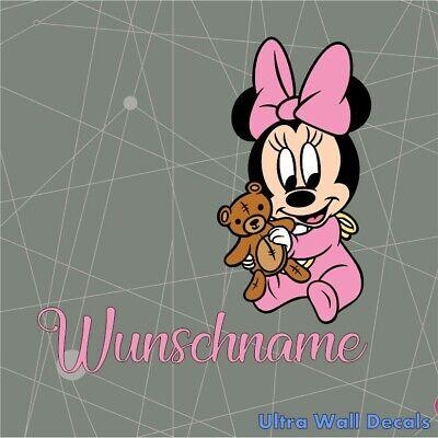 Baby Minnie Mouse mit Name für Kinderzimmer Wandaufkleber Wandtattoo Neu 2019 ()