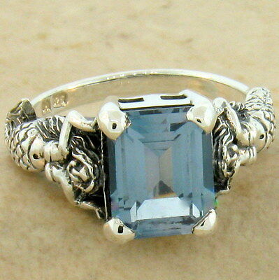 MERMAID SIM. AQUAMARINE ANTIQUE STYLE 925 STERLING SILVER RING SIZE 6.75,   #604