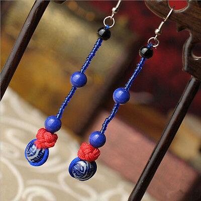 0206143Traditional handmade Blue&White Porcelain beads line design Hoop Earrings