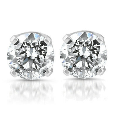 14k White Gold 1/5 Carat Real Round Diamond 4-Prong Studs Solitaire Earrings