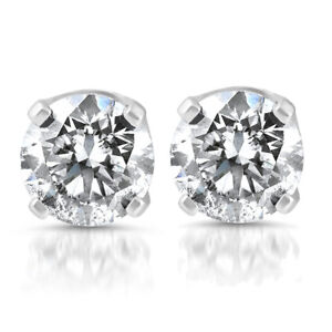 14k White Gold 1 5 Carat Real Round Diamond 4 G Studs Solitaire Earrings