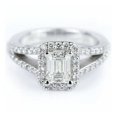 2.50 Ct Emerald Cut Natural Diamond Split Shank Engagement Ring I VS2 14k GIA