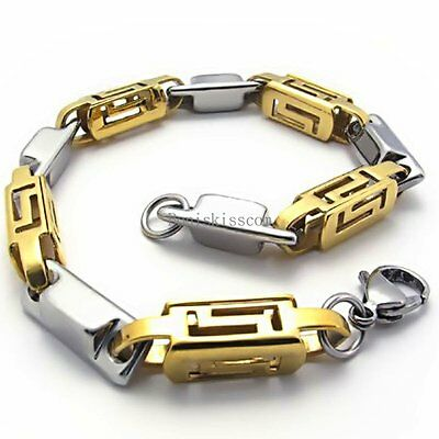 "Men's Stainless Steel Silver & Gold Tone Hollow Greek Symbol Link Bracelet 8.5"""