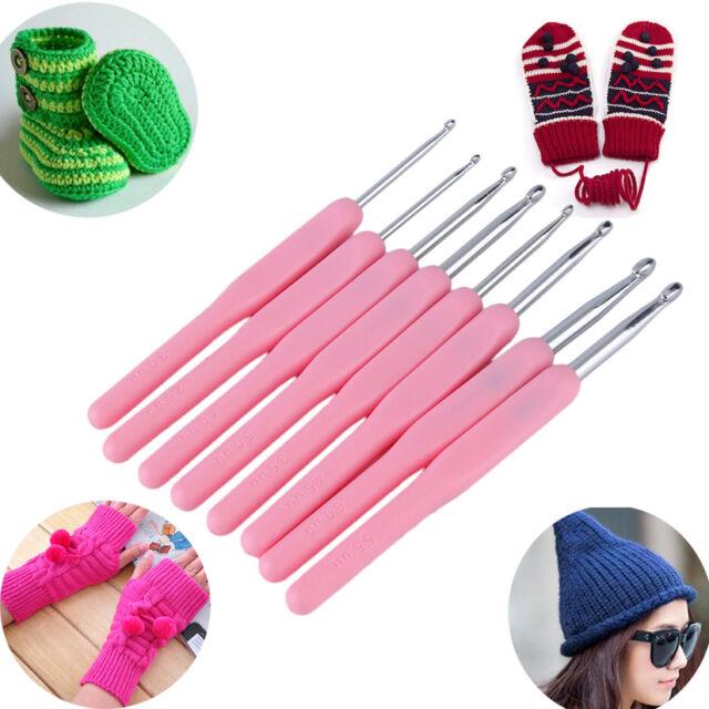 8 Size Soft Plastic Handle Aluminum Crochet Hook Knit Needle Set 2.5-6mm IB