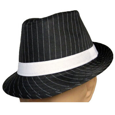 Black Fedora With White Pinstripes Hat Adult Gangster Roaring 20's Stripe](Fedora Black)