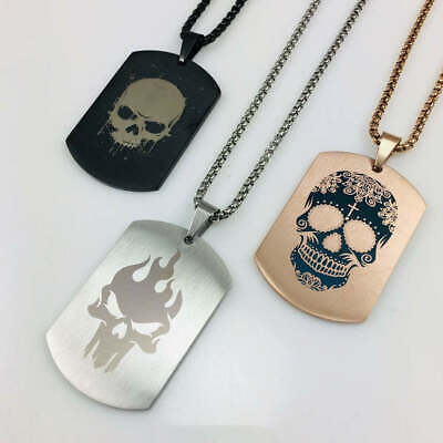 Stainless Steel Laser Engraved Dog Tag Chain Necklace Pendant Skull Collection Laser Engraved Pendants