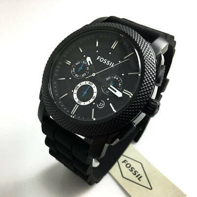 Men's Black Fossil Machine Chronograph Watch FS4487