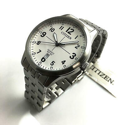 Men's Citizen Steel Quartz White Dial Watch BI1050-81B