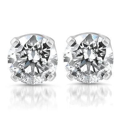 1/4ct Diamond Stud Earrings Solid 14K White Gold
