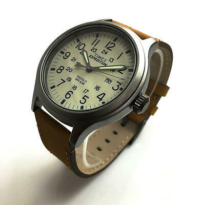 Timex Men's Expedition Scout 43 Tan Leather Band White Dial