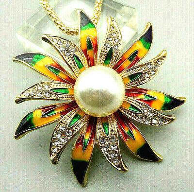 Glorious Rainbow SUN Flower PETALS Daisy Rhinestone PEARL Retro Vintage Brooch](Sun Drop Costumes)