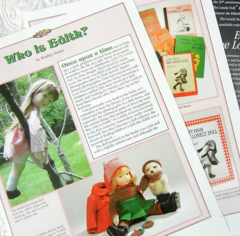 7p History Article & ADS - Edith the Lonely Doll - Dare Wright Book
