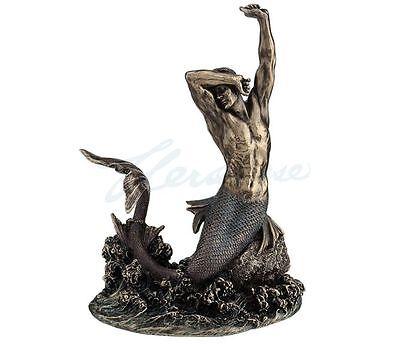 Merman Stretching On Rock Statue Figurine Nautical Decor - New in Box