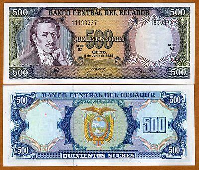 Ecuador  500 Sucres  1988  P 124A  Unc    Last Pre    Usd