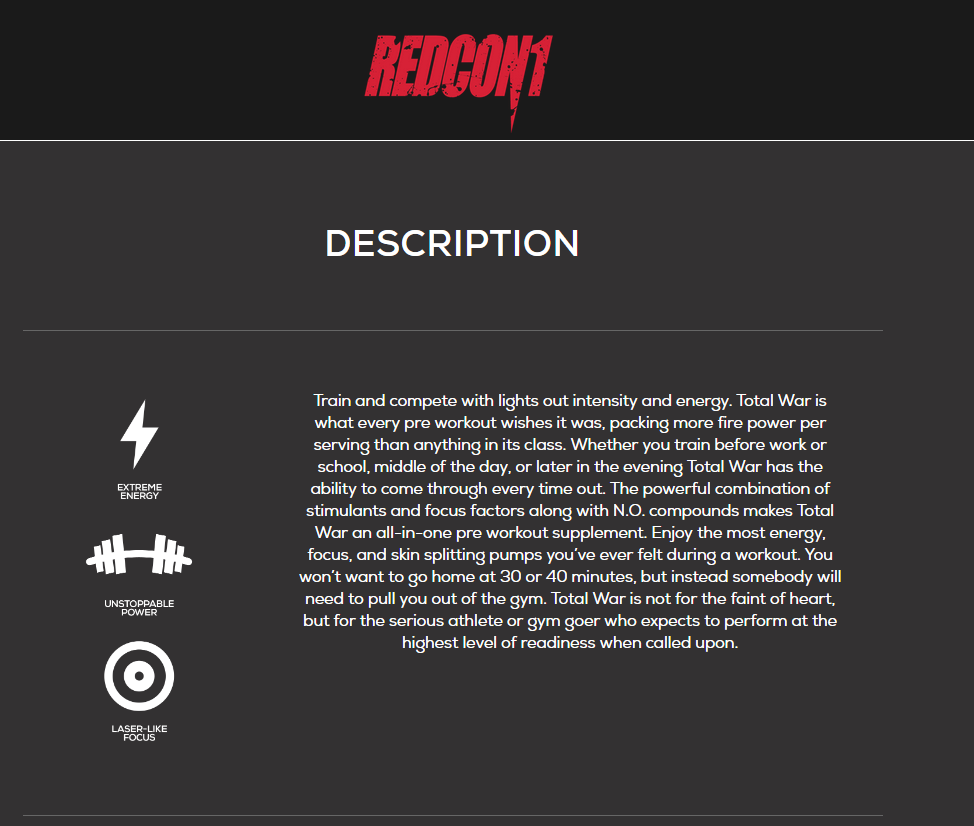 Redcon1 TOTAL WAR Pre Workout Insane Energy New Formula ALL FLAVORS FREE SHIP 4