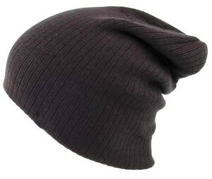 OVERSIZED-BEANIE-BOB-HAT-ribbed-knit-black-Mens-S-XL