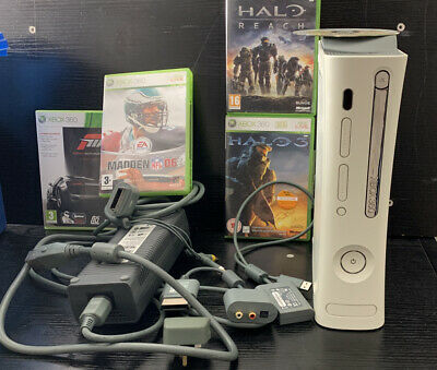 Xbox 360 Bundle White Arcade Console W/Cables 20GB Hard Drive Free Shipping