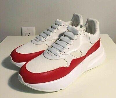 Brand-new Men's Alexander McQueen White/Red Oversized Runner Sneakers in US 11