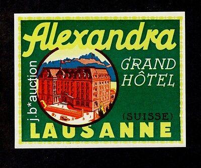 Hotel Alexandra LAUSANNE * Old Swiss Luggage Label / Kofferaufkleber