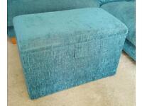 Fabric teal ottoman