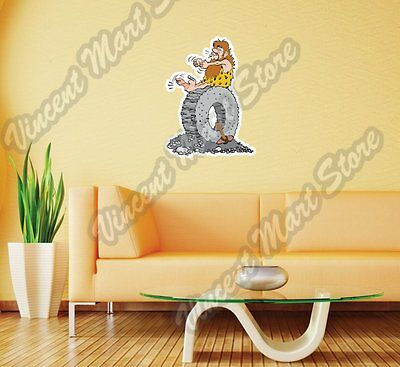 Caveman Invent Wheel Cartoon Funny Gift Wall Sticker Room Interior Decor 18