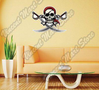Bandana Dekorationen (Pirate Skull Sword Crossbones Bandana Wall Sticker Room Interior Decor 25