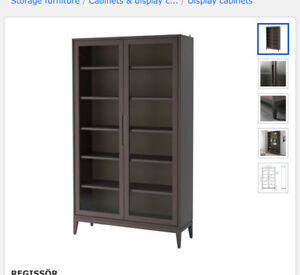Glass door cabinet BRAND NEW (non-assembled) + used drawers