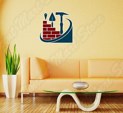 "Construction Home Builder Brick Wall Sticker Room Interior Decor 22""X22"""