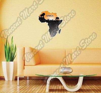 Africa Map Desert Safari Lion Gift Idea Wall Sticker Room Interior Decor 20