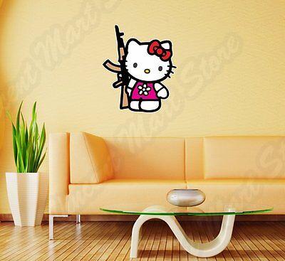Hello Kitty AK-47 Assault Rifle Funny Wall Sticker Room Interior Decor 18