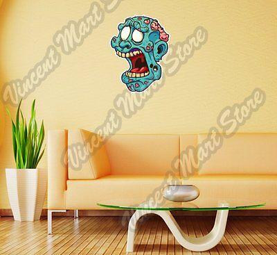 Zombie Head Brain Open Mouth Gift Idea Wall Sticker Room Interior Decor - Zombie Decorations Ideas