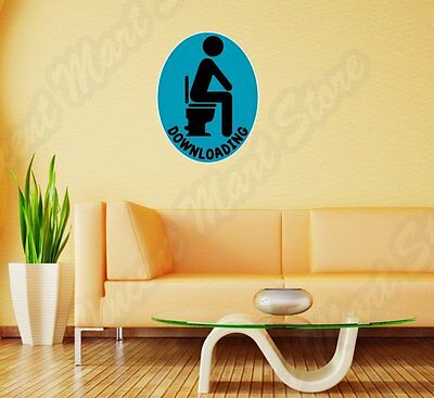 """Downloading Toilet Poop Funny Wall Sticker Room Interior Decor 18""""X25"""""""