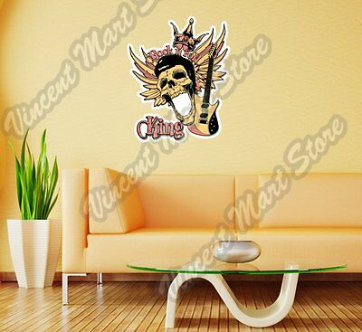 Rock 'n Roll Skull Music Guitar Gift Wall Sticker Room Interior Decor 20