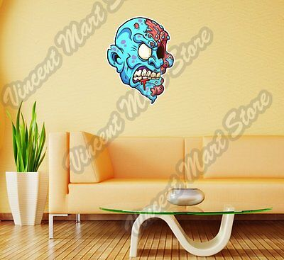 Zombie Head Vampire Freak Gift Idea Wall Sticker Room Interior Decor - Zombie Decorations Ideas