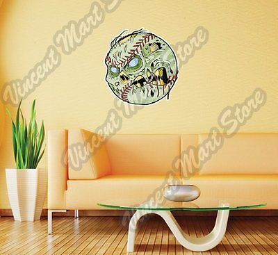 Zombie Baseball Ball Halloween Corpse Wall Sticker Room Interior Decor - Baseball Wall Decor