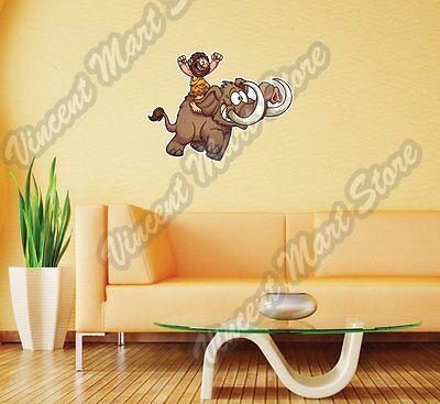 Caveman On Mammoth Elephant Cartoon Wall Sticker Room Interior Decor - Caveman Decorations