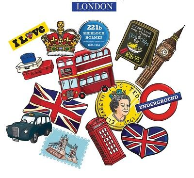 London Union Jack Decal Vinyl Laptop Luggage Graffiti Patches Sticker 15PCS
